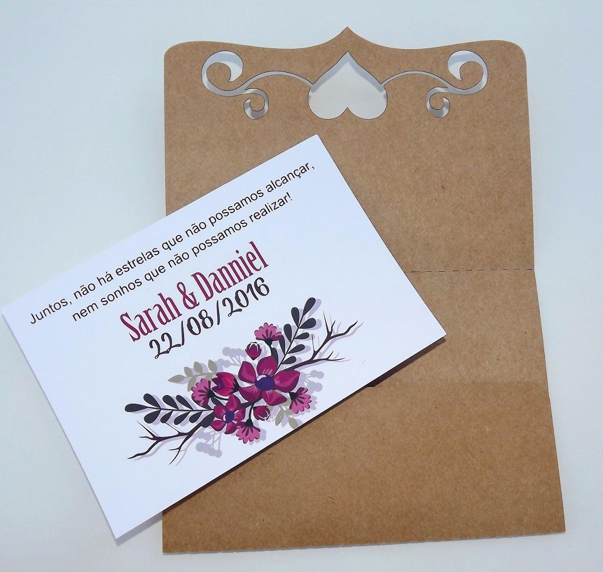 50 Envelopes Kraft Corte Laser Para Convite De Casamento R 8750