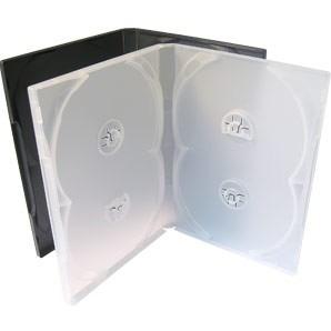 50 estojo capa dvd box quadruplo grosso 14mm transparente