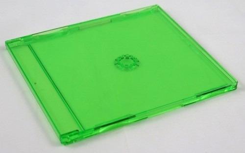 50 estojo cd unico verde capa acrílico videolar grosso 10 mm