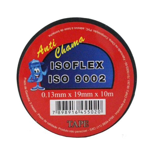 50 fita isolante isoflex 19mm x 10m anti chama