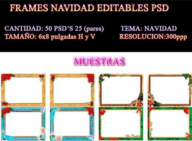 50 Frames Marcos Plantillas Navidad 6x8 Psd Frames Photoshop