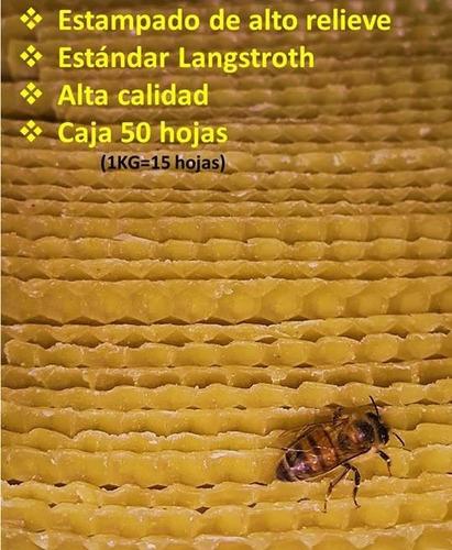 50 hojas cera estampada alto relieve orgánica apicultura