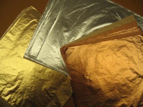 50 hojas  oro 16x16 arte con 1/4 pegamento e instructivo