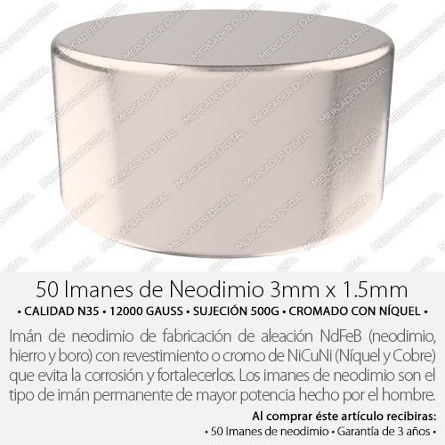 50 imanes de neodimio de 3mm x 1.5mm disco + envío gratis