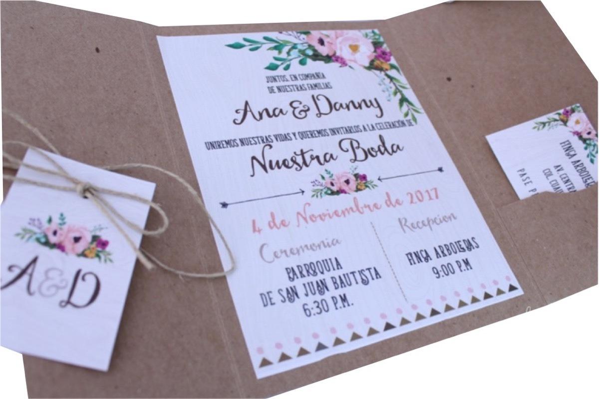50 Invitaciones Boda Xv Bautizo Vintage Bohemia Rustica Flor