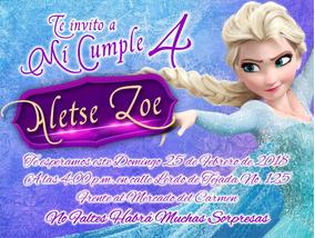 50 Invitaciones Impresas Y Personalizadas Personaje Frozen