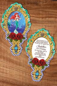 50 Invitaciones La Sirenita Ariel Impresas Frente Vuelta