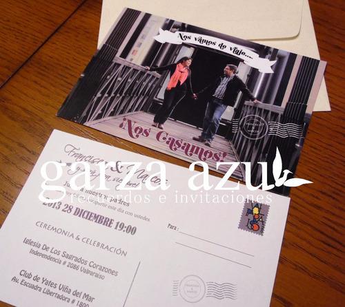 50 invitaciones partes matrimonio estilo postal boda tarjeta
