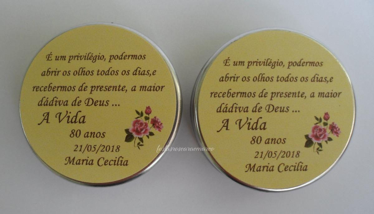50 Latinha Personalizada Festa 80 Anoslembrança Adulto