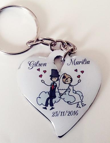 50 lembrancinhas chaveiro coração para casamento aniversário