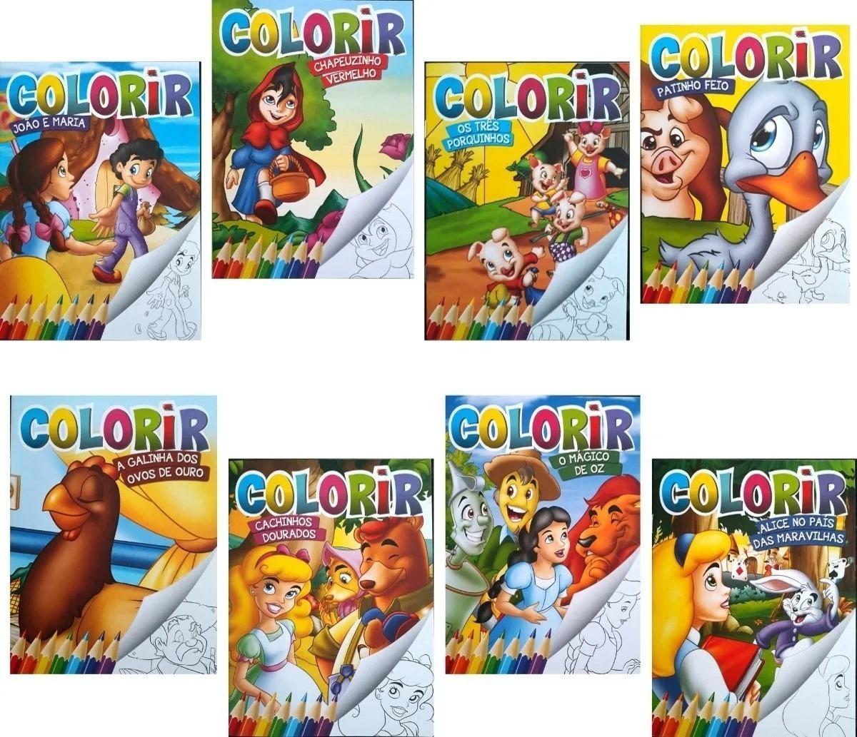 A Galinha Dos Ovo De Ouro Para Colorir 50 livrinhos infantil colorir + 50 cx giz de cera 6 cores
