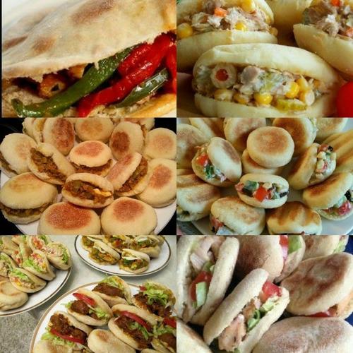 50 mini arabes rellenos surtidos. pan de pita. lunch