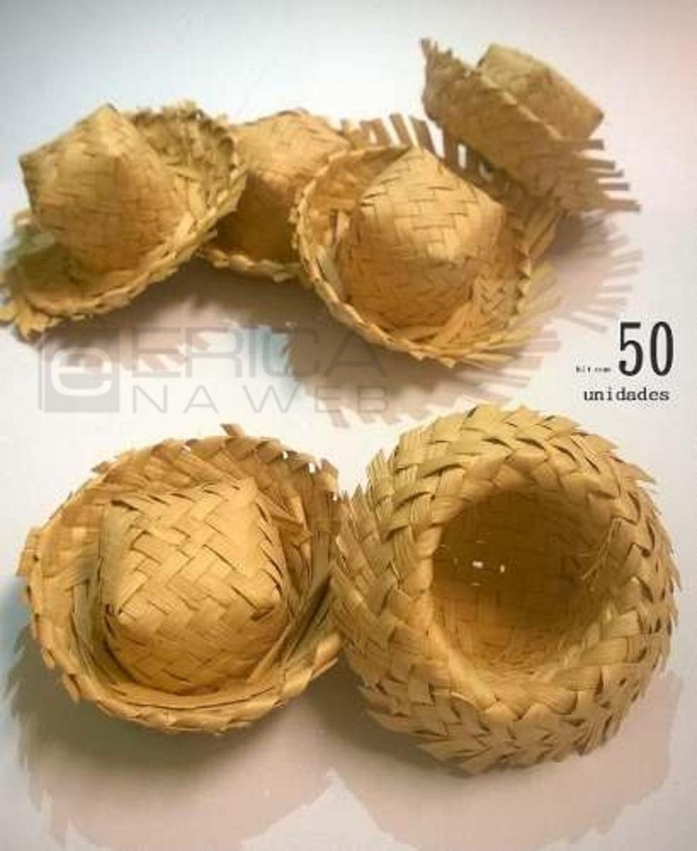 50 Mini Chapéu De Palha Lembrancinha Junina Enfeite Doces - R  44 eef80205f6f