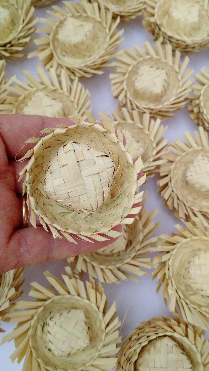 50 Miniatura De Chapéu De Palha Enfeite Festa Junino - R  82 ac2204e5161