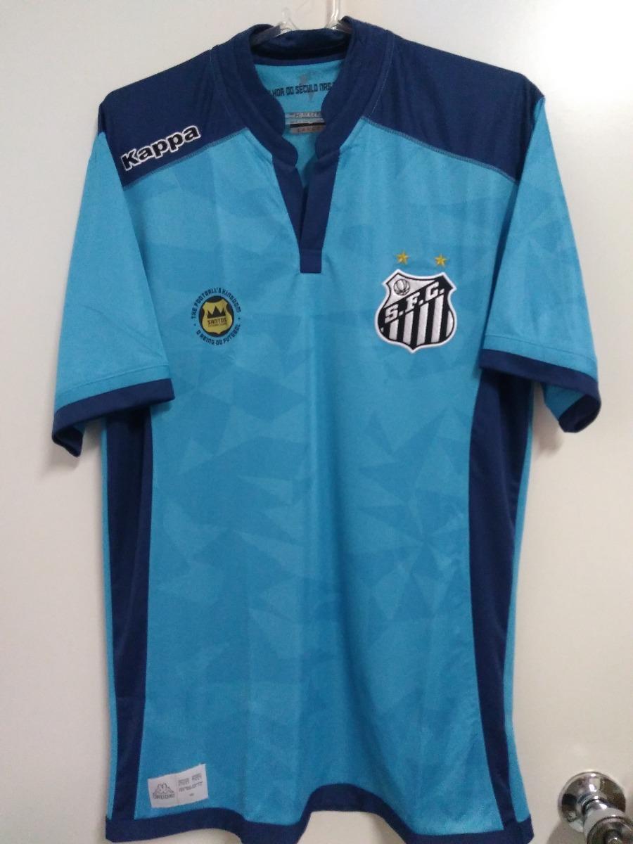 e7626c0831 50% Off Camisa Santos Goleiro Oficial Kappa Azul 2016 2017 - R  138 ...