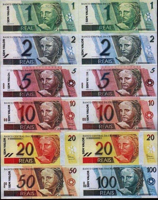 50 Pacote Mini Dinheiro Brinquedo Dinheirinho C 100 Notas R 174