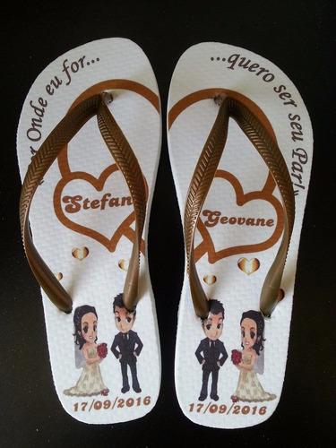 50 pares chinelo personalizado padrinho e madrinha casamento