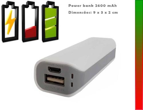 50 pçs de carregador celular power bank 2600 mah c/ logo