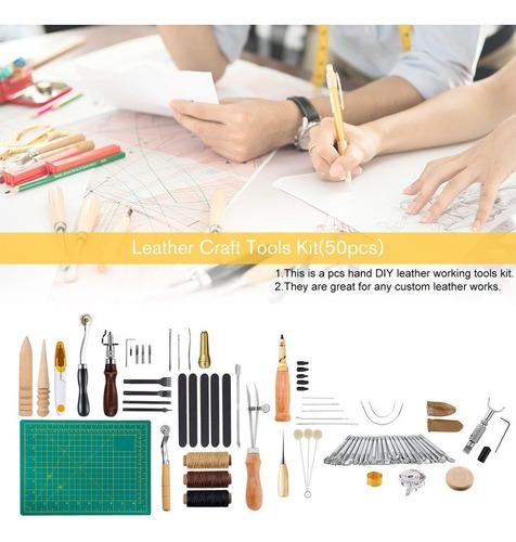 50 piezas de cuero arte equipo herramientas de diy costura c