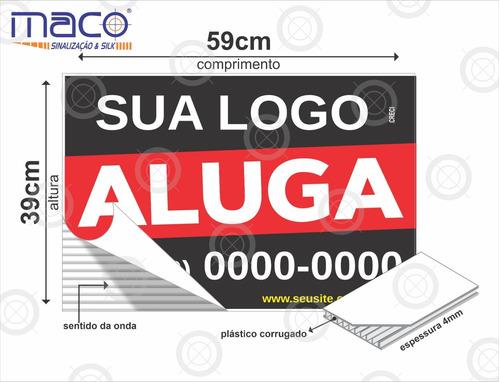 50 placas imobiliaria de vende ou aluga 59cm x 39cm