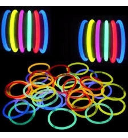 50 pulseras de neón luminosas