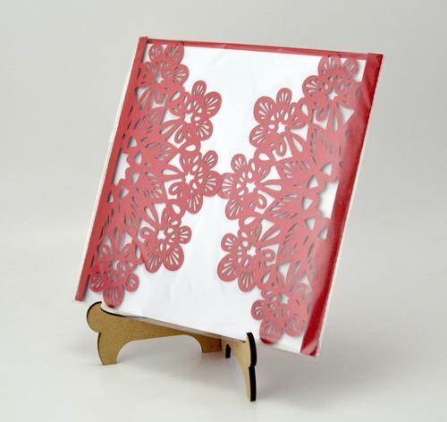 50 pzs sobre rojo jupiter invitacion corte laser boda art306
