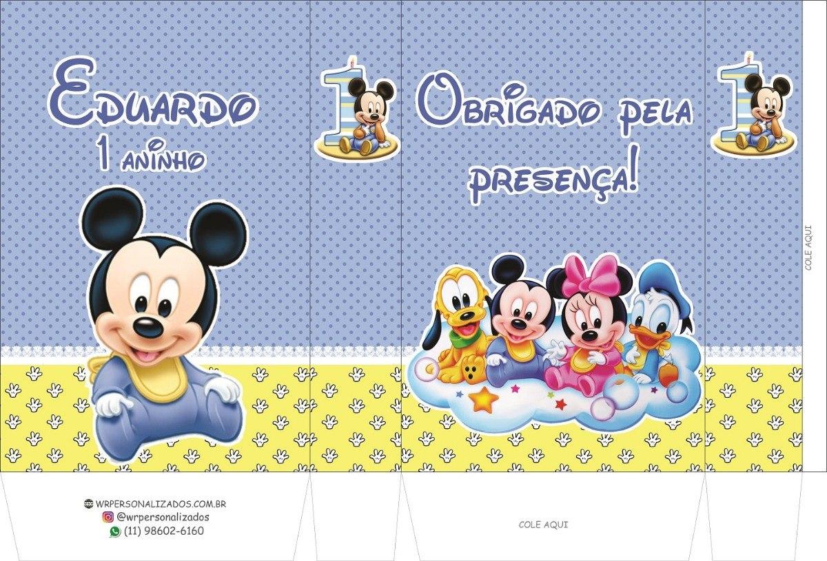 50 Sacolinhas Personalizadas Mickey Baby R 99 50 Em Mercado Livre