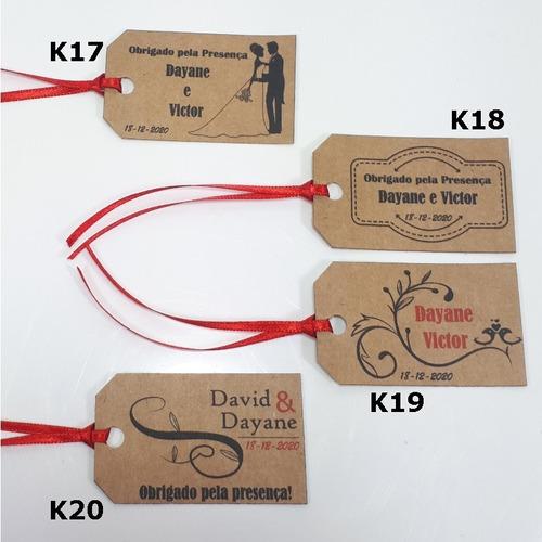 50 tags kraft personalizadas para casamento e lembrancinha