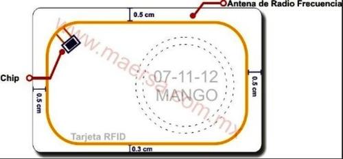 50 tarjeta rfid clamshell de 125 khz. modelo rfid-0.8mm