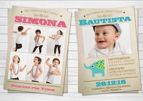 50 Tarjetas Invitación Bautismo Cumpleaños Comunión