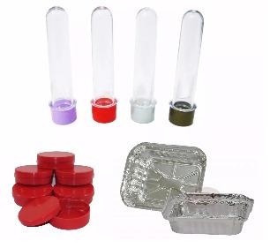50 tubetes 13cm + 50 latinhas plastica + 50 marmitinhas 250g