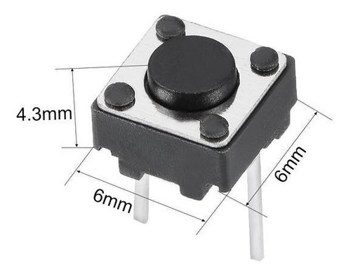50 unidades  touch  tact switch 4.3mm 2 patas electronica