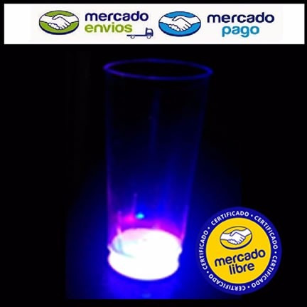 50 vasos luminosos trago largo 3 led - cotillonisimo