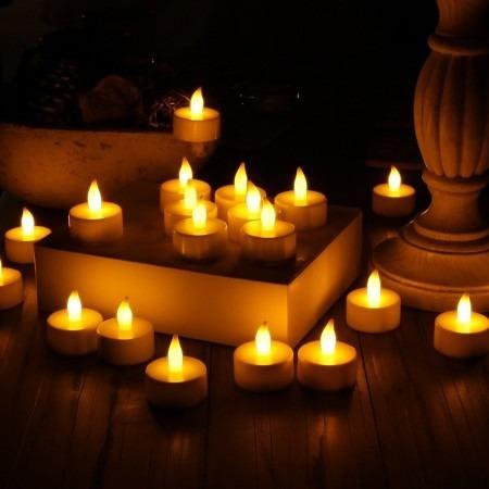 50 velas artificial decorativa de led com bateria incluso
