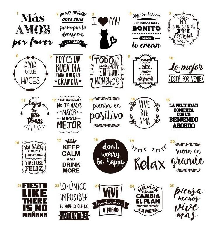 Stickers Con Frasi.50 Vinilos Adhesivos Transparentes Stickers Frascos Frases