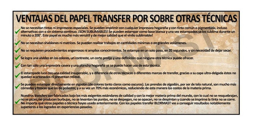 50 x a3 papel transfer blormast ropa tela clara estampado