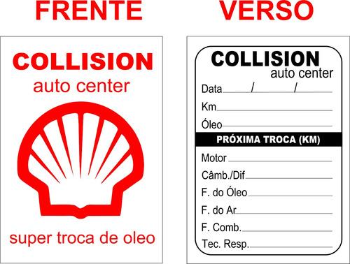 500 adesivos etiquetas troca de óleo 2 cores