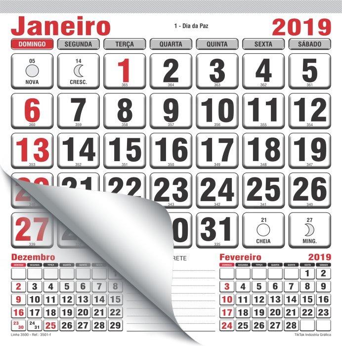 Calendario.500 Calendario 2019 Bloco 15x16 Cm 2x0 Para Ima Aniversario
