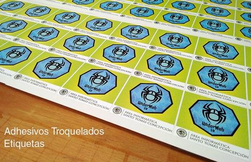 500 etiquetas autoadhesivas  5x4 cms vinil troquelado
