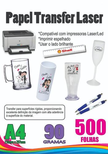500 folhas papel transfer laser folha long drink 90g taça