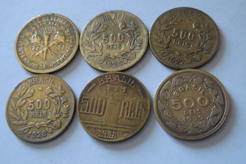 500 reis 1922,1924,1927,1928 ,1938 e 1939 lote 2