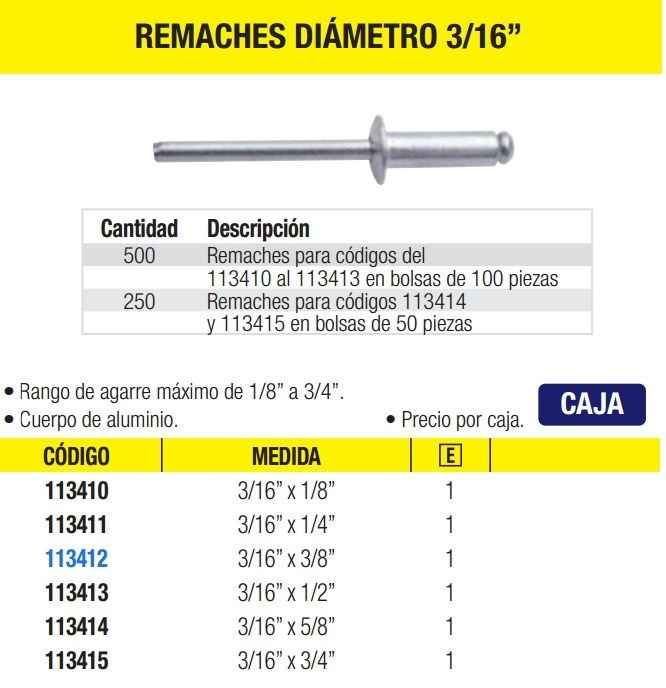 500 remaches di metro 3 16 surtek hm4 236 for Remaches de hierro