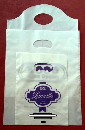 500 sacolas plásticas personalizadas 40x50