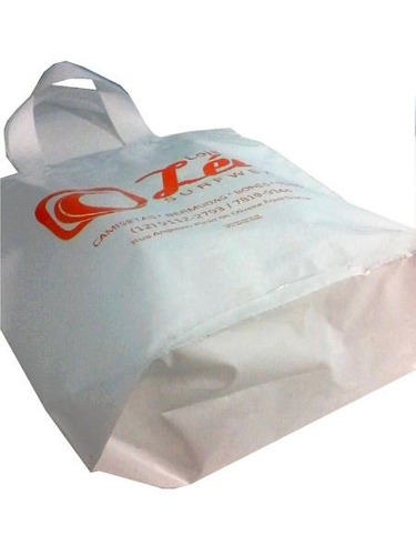 500 sacolas plásticas personalizadas | alça fita 30x35