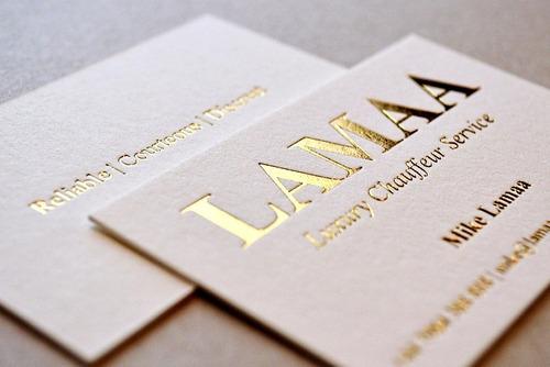 500 tarjetas personales dorado hot stamping  plateado offset