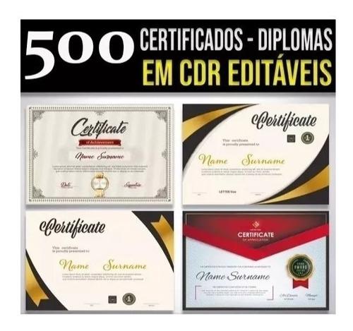500 vetores para certificados / diplomas editaveis cdr x3/x7
