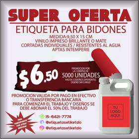 5000 Etiquetas Para Bidones 9,5x15cm Vinilo Apto Intemperie