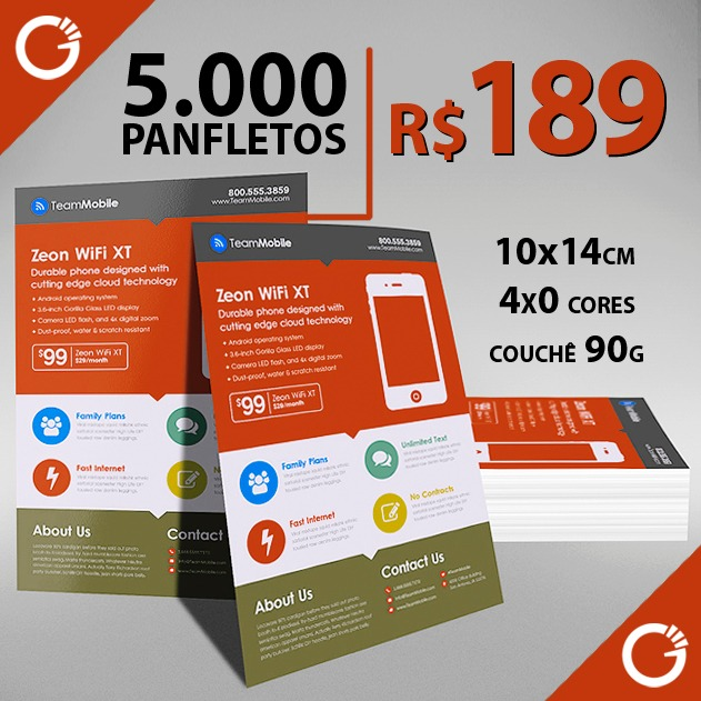 5000 panfletos colorido frente produção em 3 dias r 189 00