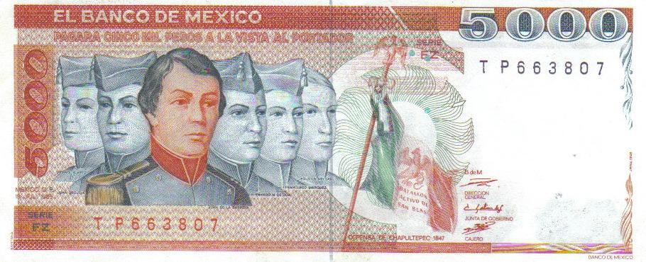 5000 Pesos 1985 Billete México Niños Héroes Chapultepec 12500