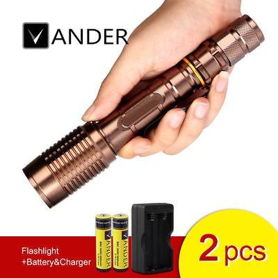5000lm m569 rosca linterna + baterías + doble carga camping